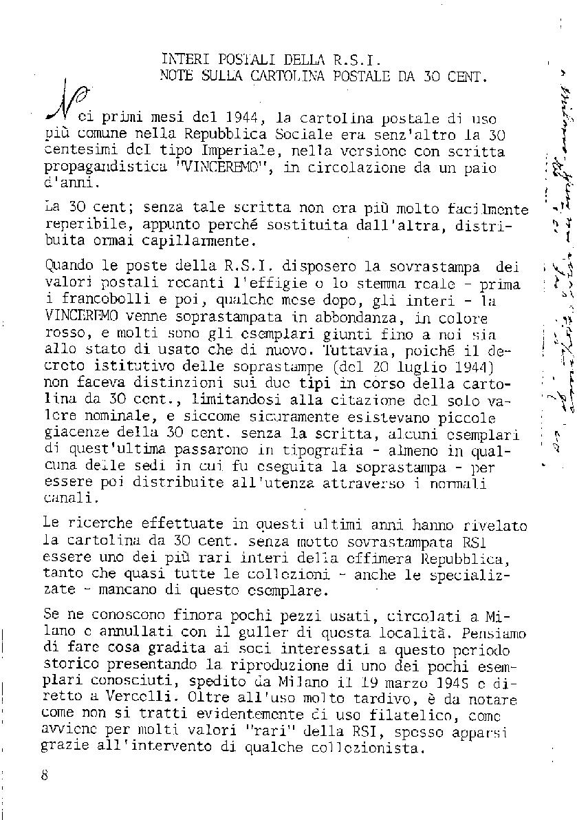 L'Intero Postale dal n. 1 al n. 1386