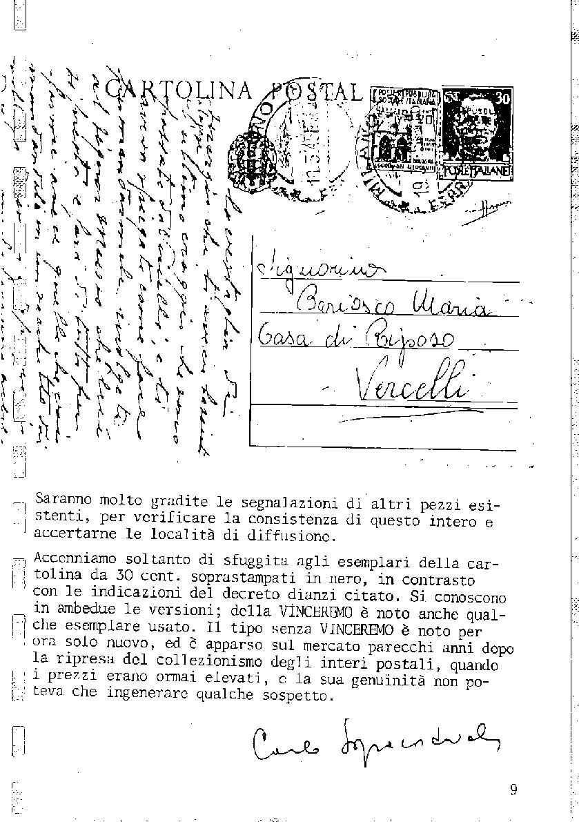 L'Intero Postale dal n. 1 al n. 1387