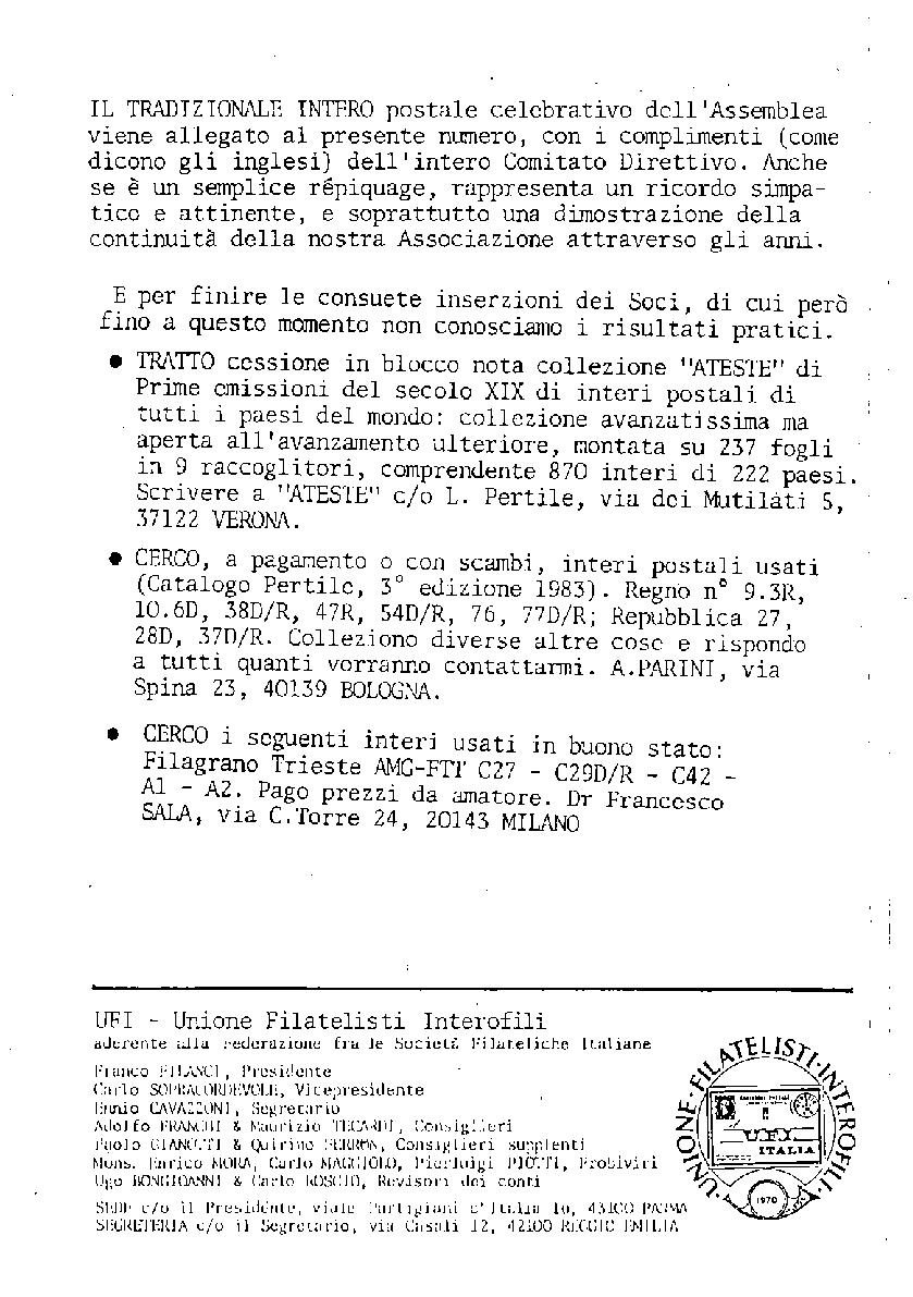 L'Intero Postale dal n. 1 al n. 1394